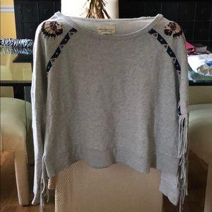 Light grey cropped fringe sleeve sweatshirt - Sz L